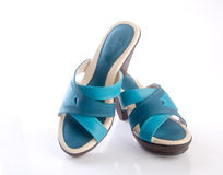 but lub błękitni kolor damy buty na tle Obrazy Royalty Free