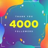 4000 lub 4k, zwolennicy dziękują was kolorowa geometryczna tło liczba abstrakt dla Ogólnospołecznych sieć przyjaciół, zwolennicy, ilustracji