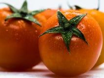 Lub w górę czereśniowych pomidorów na białym tle makro- zdjęcia royalty free