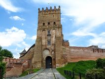 Lubart Castle or Upper Castle in Lutsk, Ukraine. The main entrance with the most famous landmark of Lutsk, the colorful bright picture of the tourist symbol of royalty free stock image