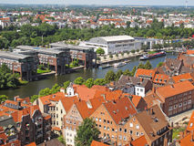 Lubeck from above. The Hanseatic city of Lubeck seen from above. The old inner city of Luebeck is listed as UNESCO world heritage Stock Image