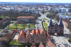 Lubeck. The aerial view of Lubeck city, Lower Saxony, Germany Royalty Free Stock Image