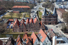 Lubeck. Aerial view on the Holsten Gate (Holstein Tor, later Holstentor), a city gate marking off the western boundary of the old center of the Hanseatic city of Stock Photography