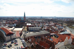 Lubeck. Aerial view on the old center of Lubeck, Schleswig-Holstein, Germany Royalty Free Stock Image