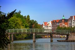 Lubeck. Bridge and houses on the bank of the river Trave, Lubeck Stock Images