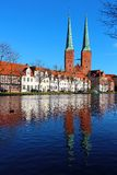 Lubeck Cathedral, Germany. Lubeck old town with Lubeck Cathedral (Lubecker Dom) reflected in Trave river, Germany Stock Image