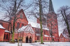 Lubeck Cathedral in old city, Germany. In winter Stock Photography