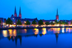 Lubeck, Germany. Waterfront in Lubeck, Germany. UNESCO World Heritage Site Royalty Free Stock Photo