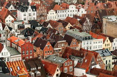 Lubeck, Germany. Aerial view of old german town of Lubeck Stock Photography
