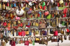 Lubeck, Germany, Europe; October 19, 2016: Love locks at the Obertrave bridge in Lubeck, Germany stock image