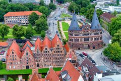 LUBECK, GERMANY - JULY 22, 2016: Aerial view of city skyline. Lu Royalty Free Stock Images