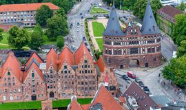 LUBECK, GERMANY - JULY 22, 2016: Aerial view of city skyline. Lu Stock Images
