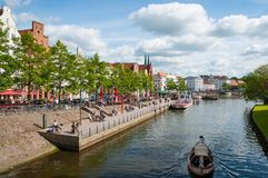 Summer day in the Canals of Lubeck Royalty Free Stock Image