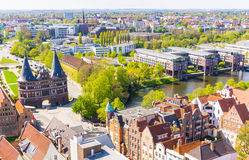 Lubeck, Germany - May 7, 2017: Summer view of The Holsten Gate or Holstentor in Lubeck old town - Germany, Schleswig-Holstein Royalty Free Stock Photography