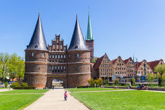 Lubeck, Germany - May 7, 2017: Summer view of The Holsten Gate or Holstentor in Lubeck old town - Germany, Schleswig-Holstein Royalty Free Stock Photo