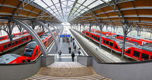 Lubeck Hauptbahnhof railway station, Germany. LUBECK, GERMANY - NOVEMBER 7, 2013: Lubeck Hauptbahnhof railway station. Is the main railway station of Hanseatic Stock Images