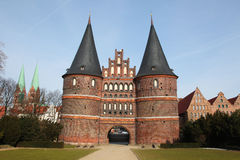 Lubeck. Holsten Gate, Lubeck old town, Schleswig-Holstein, Germany Royalty Free Stock Images