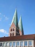 Lubeck kyrkatornspiror Fotografering för Bildbyråer