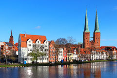 Lubeck old town, Germany. Lubeck old town with Lubeck Cathedral (Lubecker Dom) reflected in Trave river, Germany Royalty Free Stock Photo