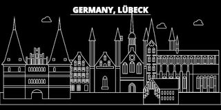 Lubeck silhouette skyline. Germany - Lubeck vector city, german linear architecture, buildings. Lubeck line travel Stock Image