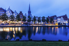 Lubeck and Trave River Royalty Free Stock Photo