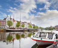 Lubeck on the Upper trave river Royalty Free Stock Photos