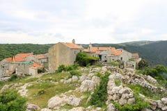 Lubenice,克罗地亚一点村庄  免版税库存图片