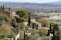 A Luberon typical landscape. Around the village of Gordes, South of France Royalty Free Stock Photo