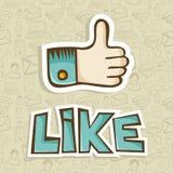 Lubię kciuk w górę ikony Obrazy Royalty Free