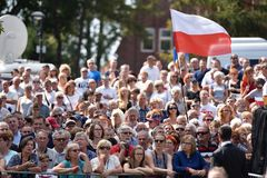 Audience and polish national flag Stock Images