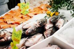 Lubina en el hielo machacado en el mercado de pescados Foto de archivo