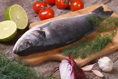 Lubina fresca de los pescados crudos en una tabla de cortar con las verduras Fotos de archivo libres de regalías