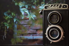 The lubitel and brick wall Royalty Free Stock Photos