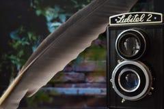 Lubitel e la piuma dell'airone Fotografie Stock