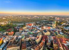 Lublin from the air. Landscape of the old town in Lublin with characteristic points, seen from the bird`s eye view. Stock Image