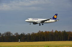 Lublin Airport - Lufthansa plane landing Stock Image