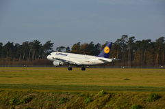 Lublin Airport - Lufthansa plane landing Royalty Free Stock Image
