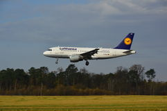 Lublin Airport - Lufthansa plane landing Royalty Free Stock Photography