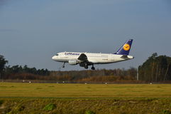 Lublin Airport - Lufthansa plane landing Royalty Free Stock Photo