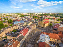 Lublin from the bird`s eye view. Landscape of the old town from the air with the visible Town Hall and Łokietak Square. Royalty Free Stock Images