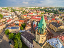 Lublin from the bird`s eye view. Old Town, Trinitarian Tower, Crown Tribunal and other monuments of Lublin. Poland - Lublin. Lublin tourist attractions seen royalty free stock image