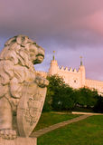 Lublin castle and lion, Poland Stock Photography