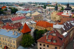 Lublin city in Poland. Top view on the panorama of the old city. royalty free stock images