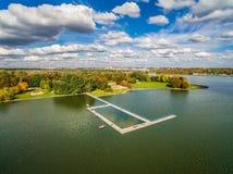 Lublin do ar Lago Zemborzycki visto de uma opinião do olho do ` s do pássaro Fotografia de Stock