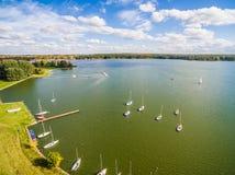 Lublin do ar Lago Zemborzycki visto de uma opinião do olho do ` s do pássaro Fotos de Stock