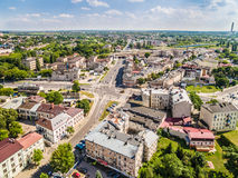 Lublin do ar A rua circunvizinha Kunicki da paisagem Imagem de Stock