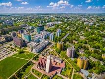 Lublin do ar Ruas Zana e Filaret de Lublin das construções Foto de Stock Royalty Free
