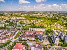 Lublin - fotos do zangão Distrito Czuby visto do ar Imagens de Stock Royalty Free