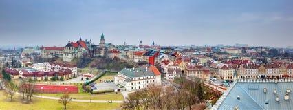 Lublin gammal stadpanorama, Polen Arkivfoton