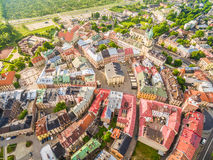 Lublin - the landscape of the old city from the air. Attractions Lublin from the air. Stock Photos